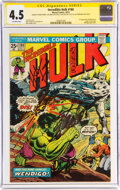 Bronze Age (1970-1979):Superhero, The Incredible Hulk #180 Signature Series: Stan Lee and Others (Marvel, 1974) CGC VG+ 4.5 Off-white pages....