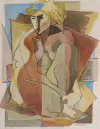 Edmund Daniel Kinzinger (German/American, 1888-1963) Geometric Nude, 1934 Gouache and charcoal on pa