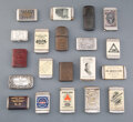 Collectible, A Group of Twenty American and British American Metal and Bakelite Advertising Match Safes, late 19th-early 20th century . 2... (Total: 20 Items)