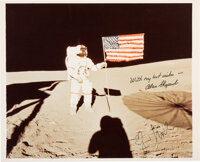 Apollo 14 Moonwalkers: Signed Original NASA Lunar Surface Flag Color Photo