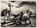 Works on Paper, Thomas Hart Benton (American, 1889-1975). Photographing the Bull, 1950. Lithograph on wove paper. 11-3/4 x 16 inches (29...