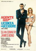 "Movie Posters:James Bond, Dr. No (United Artists, R-1971). Very Fine+ on Linen. Italian 4 - Fogli (55.25"" X 77.75"") Enzo Sciotti Artwork.. ..."