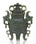 Carvings, A Chinese Deep Celadon Jade Covered Vase. 6-5/8 x 5-5/8 x 2-1/8 inches (16.8 x 14.3 x 5.4 cm). ... (Total: 2 Items)