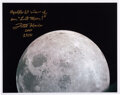 Explorers:Space Exploration, Fred Haise Signed Apollo 13 Color Photo of the Moon.