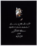 Explorers:Space Exploration, Fred Haise Signed Apollo 13 Damaged Service Module Color P...