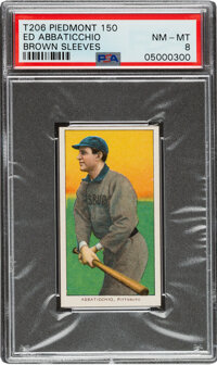 1909-11 T206 Piedmont 150 Ed Abbaticchio (Brown Sleeves) PSA NM-MT 8 - Pop Three, One Higher For This Brand & Series...