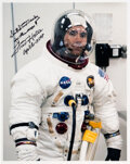 Explorers:Space Exploration, Fred Haise Signed Apollo 13 Launch Day White Spacesuit Col...