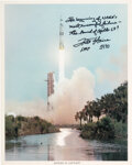 Explorers:Space Exploration, Fred Haise Signed Apollo 13 Launch Color Photo. A...