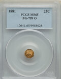 California Fractional Gold , 1881 25C Indian Octagonal 25 Cents, BG-799O, Low R.4, MS65 PCGS. PCGS Population: (36/5). NGC Census: (5/6). ...