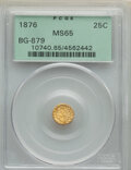 California Fractional Gold , 1876 25C Indian Round 25 Cents, BG-879, R.4, MS65 PCGS. PCGS Population: (13/2). NGC Census: (1/1). ...