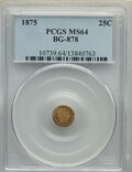 California Fractional Gold : , 1875 25C Indian Round 25 Cents, BG-878, R.3, MS64 PCGS. PCGS Population: (49/21). NGC Census: (8/3). ...