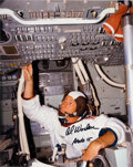 Explorers:Space Exploration, Al Worden Signed Command Module Simulator Color Photo....