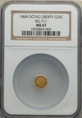 California Fractional Gold , 1868 25C Liberty Octagonal 25 Cents, BG-711, R.4, MS67 NGC. A frosty Superb Gem with untouched, luminous orange-gold and ho...