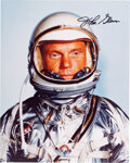 Explorers:Space Exploration, John Glenn Signed Silver Spacesuit Color Photo. A...