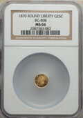 California Fractional Gold : , 1870 25C Liberty Round 25 Cents, BG-808, R.3, MS66 NGC. NGC Census: (6/9). PCGS Population: (19/5). ...