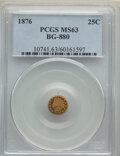 California Fractional Gold , 1876 25C Indian Round 25 Cents, BG-880, Low R.6, MS63 PCGS. PCGS Population: (11/13). NGC Census: (1/0). ...