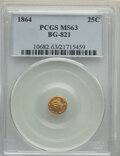 California Fractional Gold , 1864 25C Liberty Round 25 Cents, BG-821, Low R.5, MS63 PCGS. PCGS Population: (4/1). ...