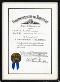 """1983 Jimmy """"The Greek"""" Snyder Kentucky Colonel Proclamation from The Jimmy """"The Greek"""" Snyder Collec..."""
