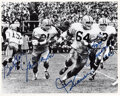 Football Collectibles:Photos, 1960's Bart Starr, Jim Taylor, Fuzzy Thurston & Jerry Kramer Signed The Sweep Oversized Photograph. ...