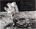 Explorers:Space Exploration, Edgar Mitchell Signed Apollo 14 Lunar Surface Photo.