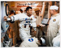 Explorers:Space Exploration, Fred Haise Signed White Spacesuit Training Color Photo.