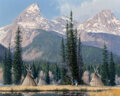 Paintings, Roger Ore (American, b. 1950). Indian Encampment at the base of the Grand Tetons, 1992. Oil on canvas . 24 x 30 inches (...