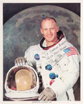 Explorers:Space Exploration, Buzz Aldrin Signed Apollo 11 White Spacesuit Color Photo, ...