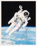 Explorers:Space Exploration, Bruce McCandless II Signed STS-41-B Untethered Spacewalk Color Photo. ...