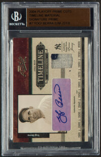 2004 Playoff Prime Cuts Timeline Material Signature Prime Yogi Berra Autograph Jersey Relic Card #T-7 - Serial Numbered...