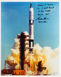 Explorers:Space Exploration, Gordon Cooper Signed Gemini 5 Launch Color Photo. ...