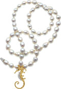 Estate Jewelry:Necklaces, South Sea Cultured Pearl, Diamond, Platinum, Gold Necklace, Angela Cummings for Assael. ...