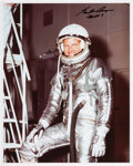 Explorers:Space Exploration, Gordon Cooper Signed Silver Spacesuit Color Photo....