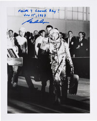 Gordon Cooper Signed Mercury-Atlas 9 (Faith 7) Silver Spacesuit Launch Day Walkout Photo
