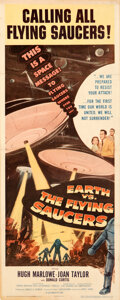 """Movie Posters:Science Fiction, Earth vs. the Flying Saucers (Columbia, 1956). Fine/Very Fine on Linen. Insert (14"""" X 36"""").. ..."""