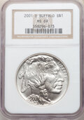 Modern Issues, 2001-D $1 Buffalo MS69 NGC. and a 2001-P $1 Buffalo PR69 Ultra Cameo NGC. The current Coin Dealer Newsletter (Greysh... (Total: 2 coins)