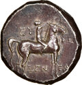 Ancients:Greek, Ancients: CALABRIA. Tarentum. Ca. 272-240 BC. AR stater or didrachm (18mm, 6.29 gm, 4h). NGC Choice XF 4/5 - 4/5. ...