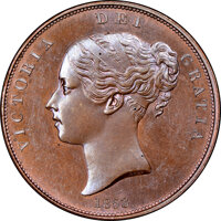 Great Britain: Victoria Proof Penny 1853 PR64+ Brown NGC