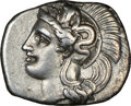 Ancients:Greek, Ancients: CALABRIA. Tarentum. Ca. 380-280 BC. AR diobol (12mm, 1.20 gm, h). NGC XF 4/5 - 4/5. ...
