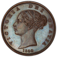 Isle of Man: British Dependency. Victoria Mint Error - Struck in Metal Flake Proof 1/2 Penny 1860 PR64 Brown PCGS