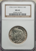 Commemorative Silver, 1936-S 50C Bay Bridge MS62 NGC. NGC Census: (122/3734). PCGS Population: (242/6287). CDN: $133 Whsle. Bid for NGC/PCGS MS62...