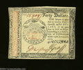 Colonial Notes:Continental Congress Issues, Continental Currency January 14, 1779, $40 Very Choice New.