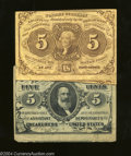 Fractional Currency:First Issue, Two Different 5c Fractionals.