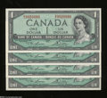 Canadian Currency: , BC37-d $1 1954 Four Examples Choice Crisp Uncirculated.
