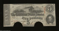 Confederate Notes:1863 Issues, T60 $5 1863. Two half moon cancels are found on this 2nd ...