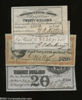 Confederate Notes:Group Lots, Three CSA and One Virginia Bond Coupon.