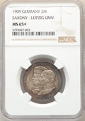 German States:Saxony, German States: Saxony. Friedrich August III 2 Mark 1909 MS65+ NGC...