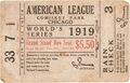 """Baseball Collectibles:Tickets, 1919 World Series (Game Five) Ticket Stub with Vintage """"Fa..."""