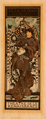 After Alphonse Mucha (Czech, 1860-1939) Lorenzaccio, 1896 Lithograph in colors on paper laid on boar