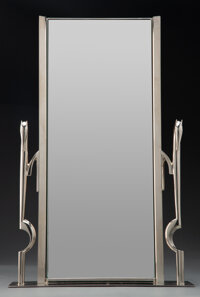 Franz Hagenauer Nickel-Plated Mirror Marks: WHW, MADE IN AUSTRIA 19-3/4 inches (50.2 cm)  VALE