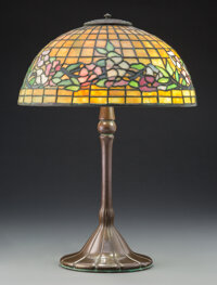 Tiffany Studios Leaded Glass and Bronze Dogwood Table Lamp, circa 1905 Marks to s